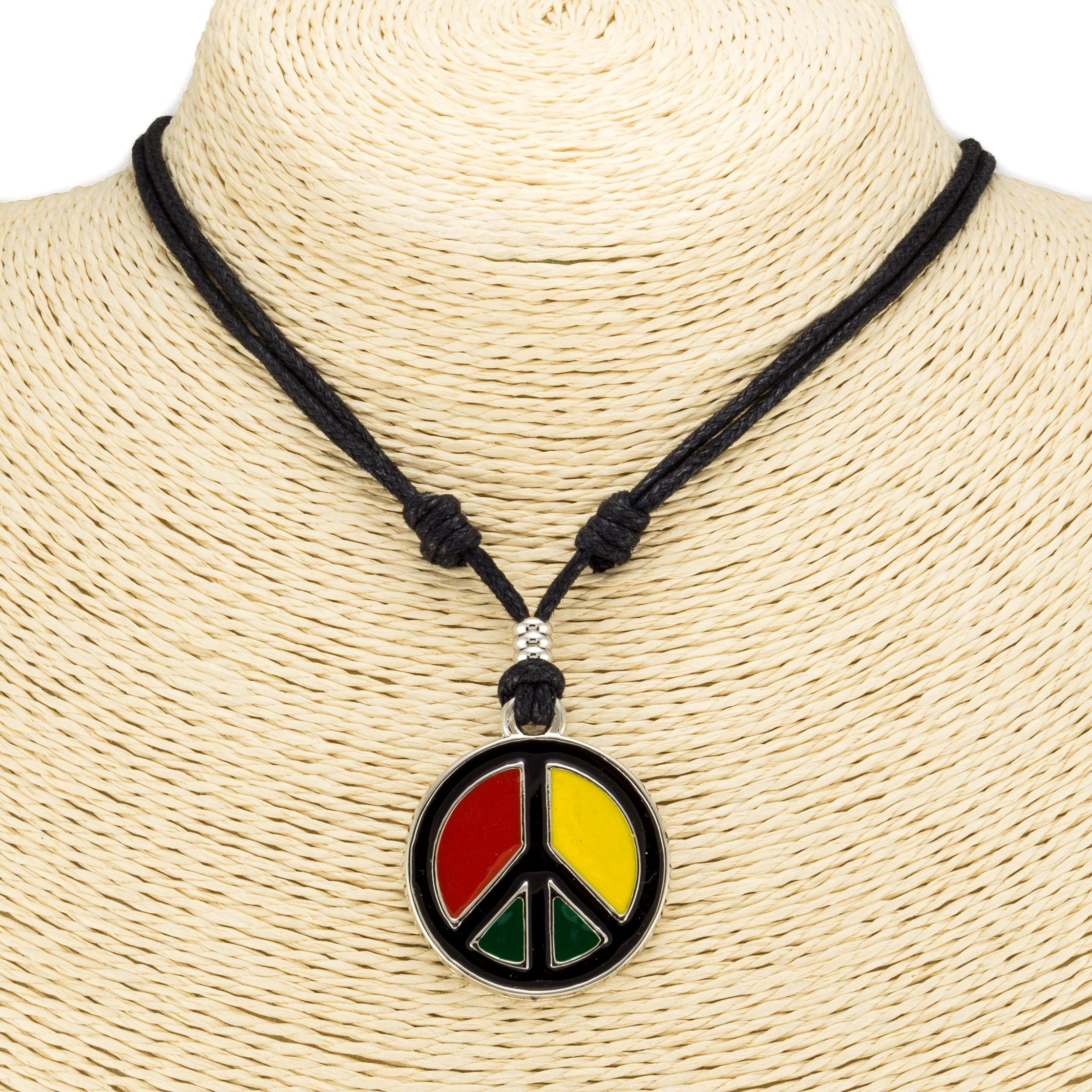 Rasta Peace Pendant on Adjustable Cord Necklace