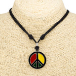 Load image into Gallery viewer, Rasta Peace Pendant on Adjustable Cord Necklace