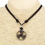 Load image into Gallery viewer, Celtic Triskelion Pendant on Adjustable Rope Necklace
