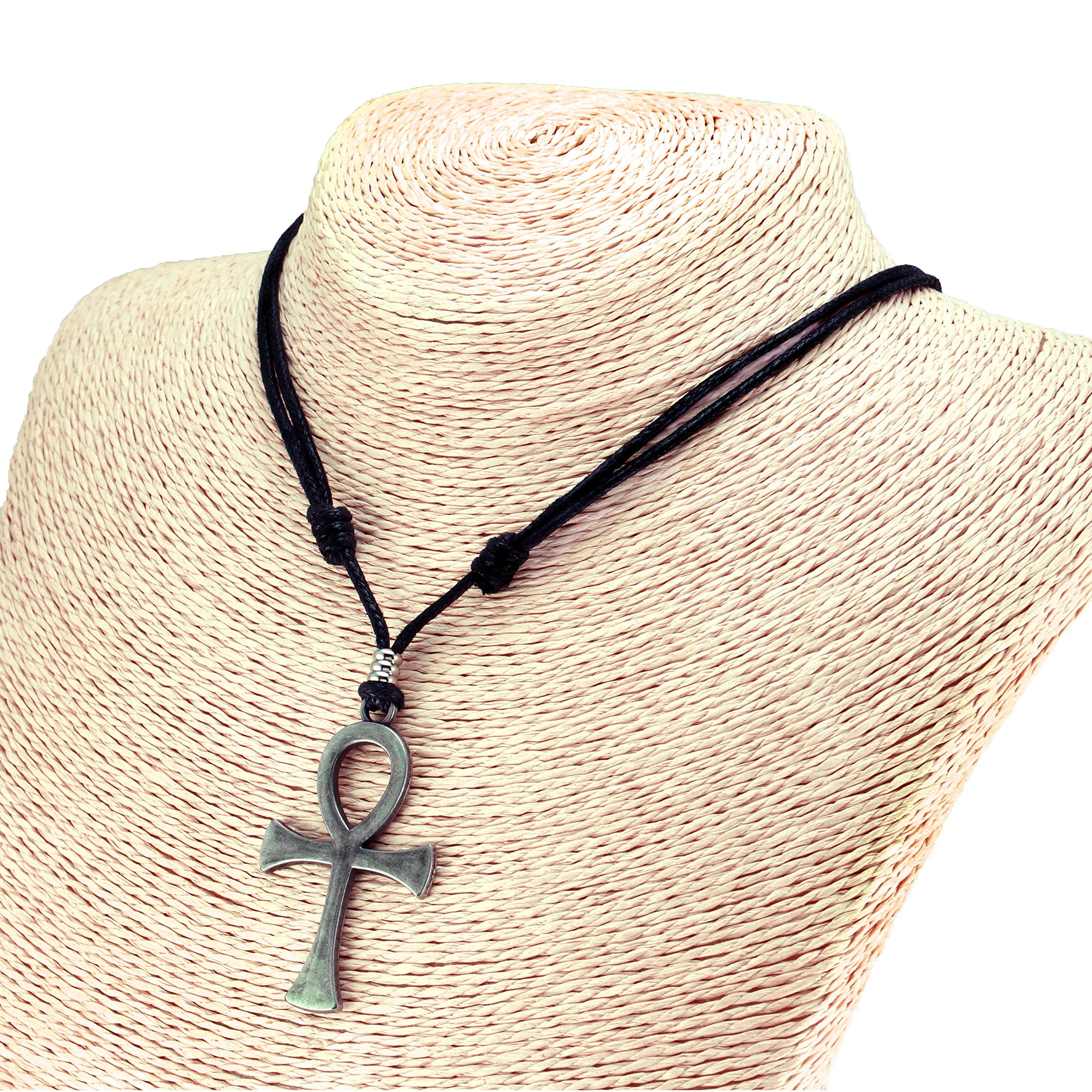 Ankh Cross Pendant on Adjustable Rope Necklace