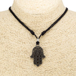 Load image into Gallery viewer, Hamsa Pendant on Adjustable Rope Necklace