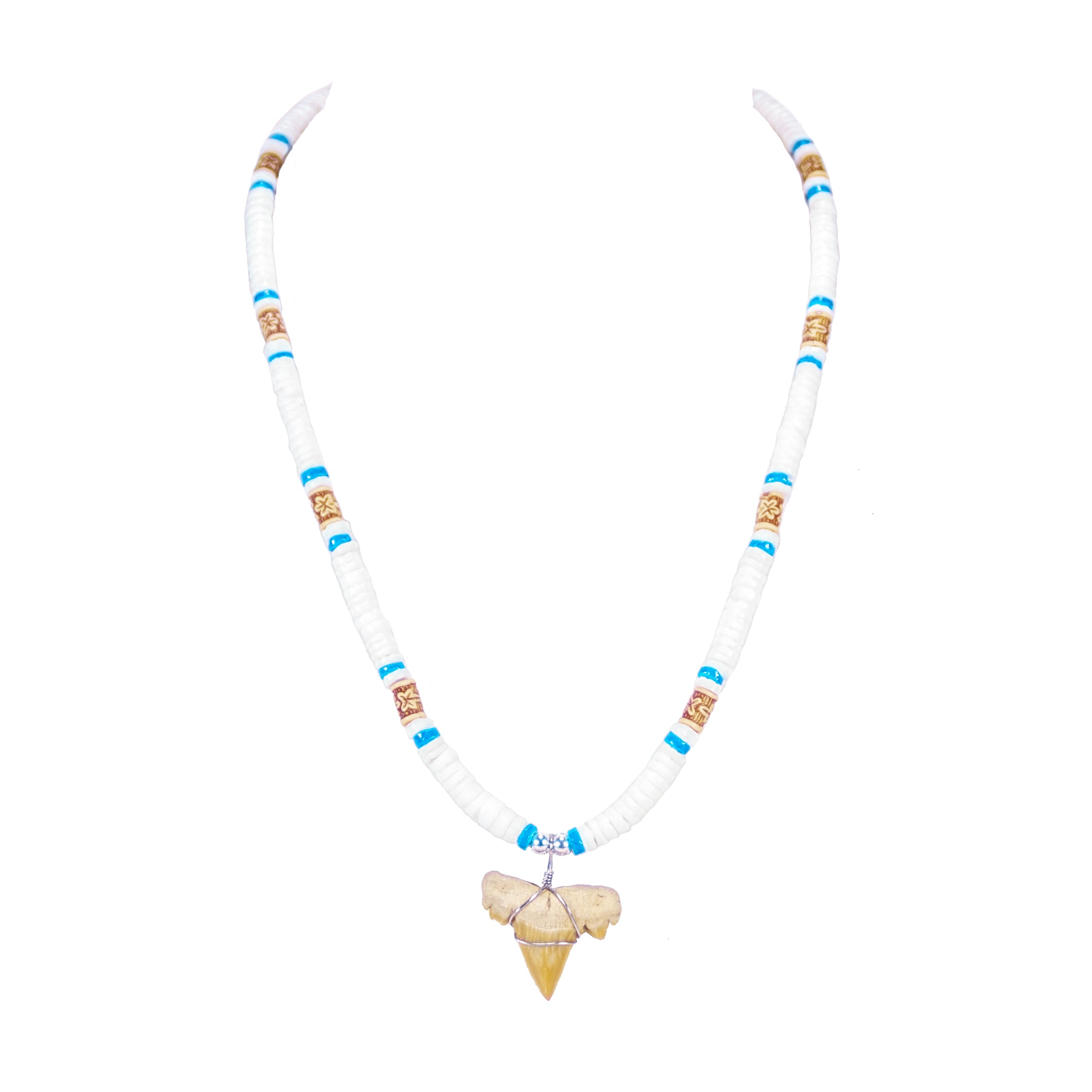 "1""+ Shark Tooth Pendant on White and Blue Puka Shell Beads Necklace"