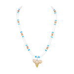 "Load image into Gallery viewer, 1""+ Shark Tooth Pendant on White and Blue Puka Shell Beads Necklace"