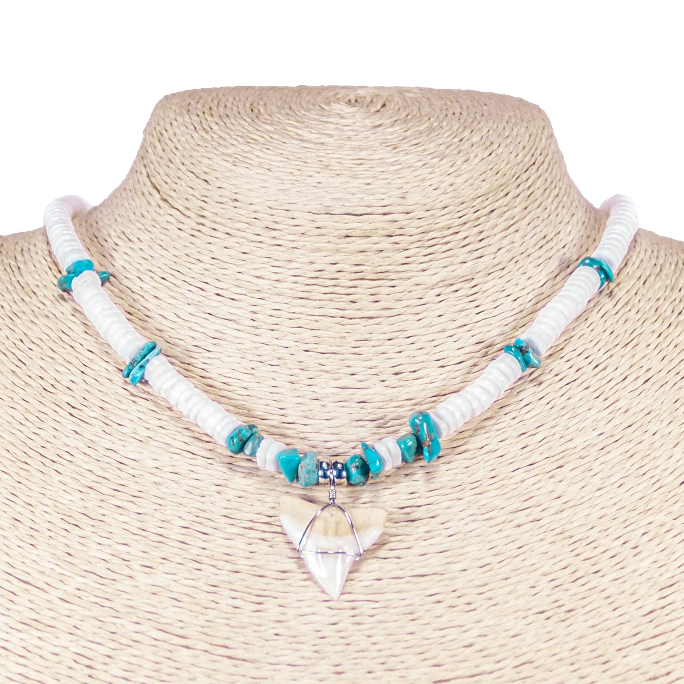 Mako Shark Tooth Pendant on Puka Shell and Turquoise Stone Chips Necklace