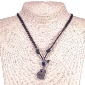 Guitar Pendant on Adjustable Rope Necklace