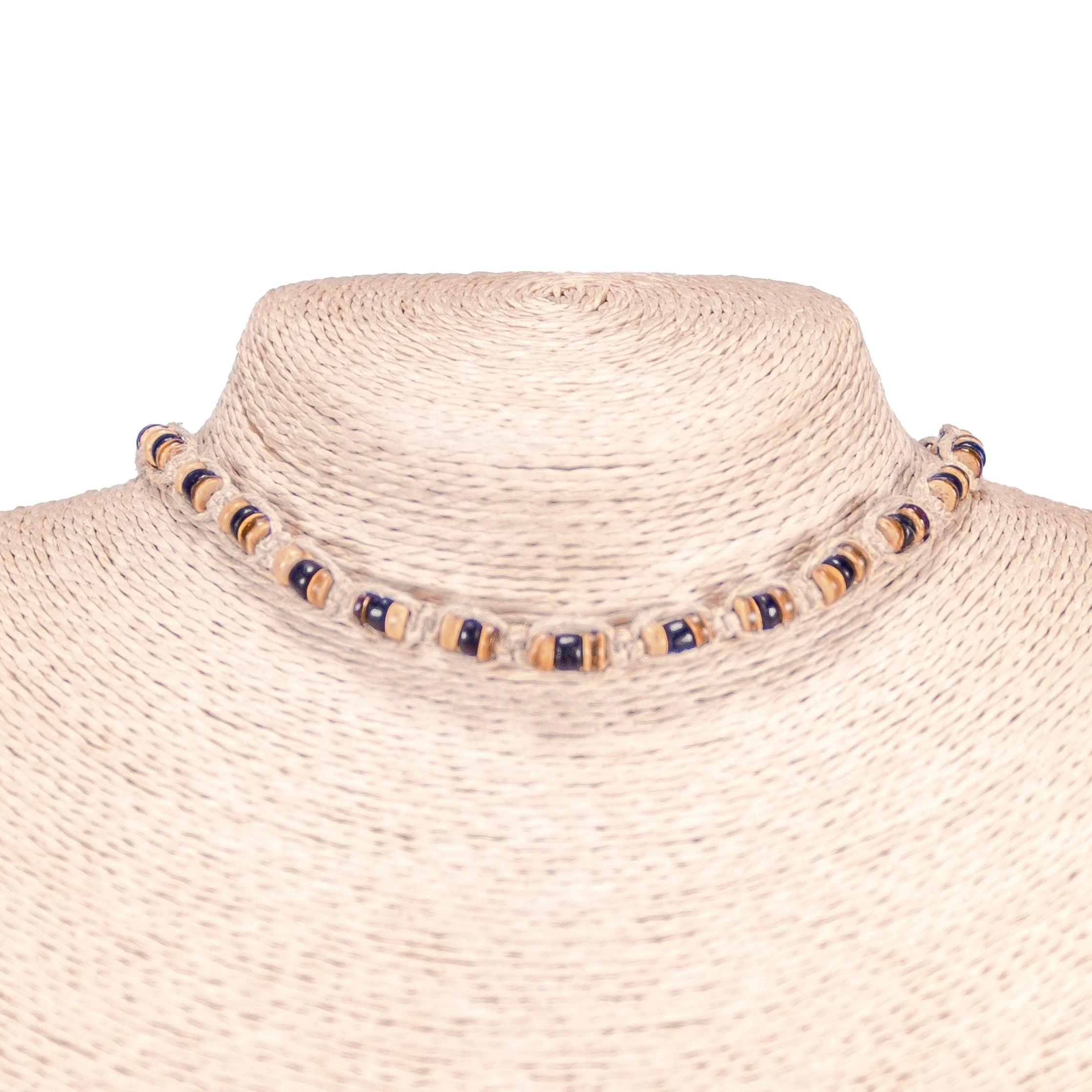 Tiger Brown and Black Coconut Beads on Hemp Choker Necklace