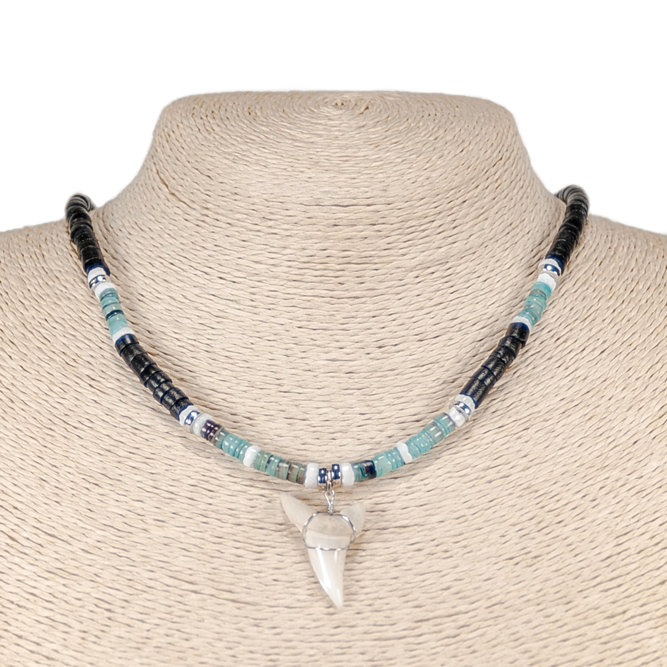 Mako Shark Tooth Pendant on Black Coconut & Green Shell Beads Necklace