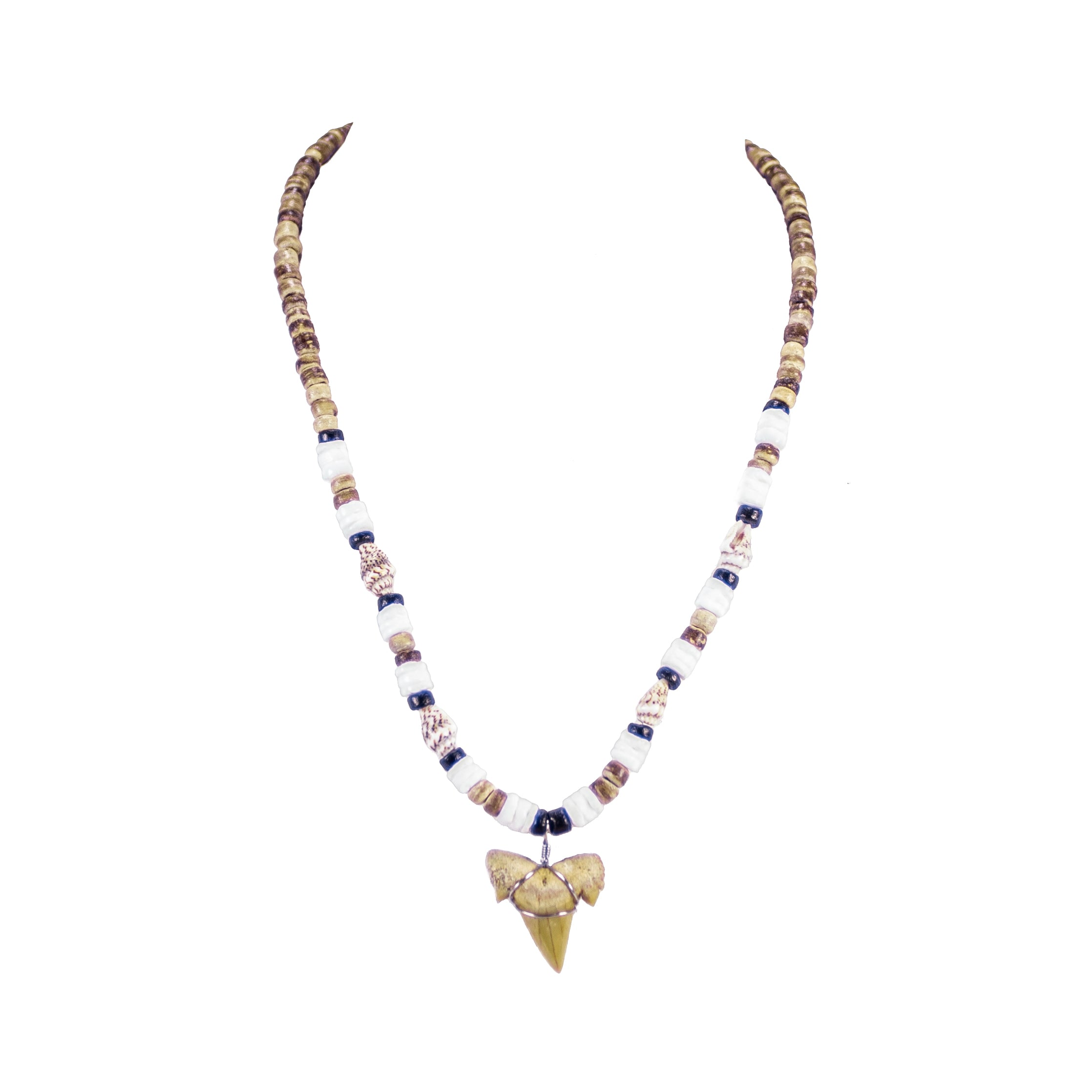 "1""+ Shark Tooth Pendant on Tiger Coconut and Puka Shell Beads Necklace"