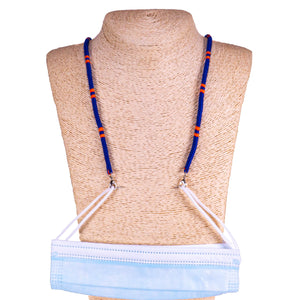 Cotton Wrapped Face Mask Holder (Dark Blue & Orange)