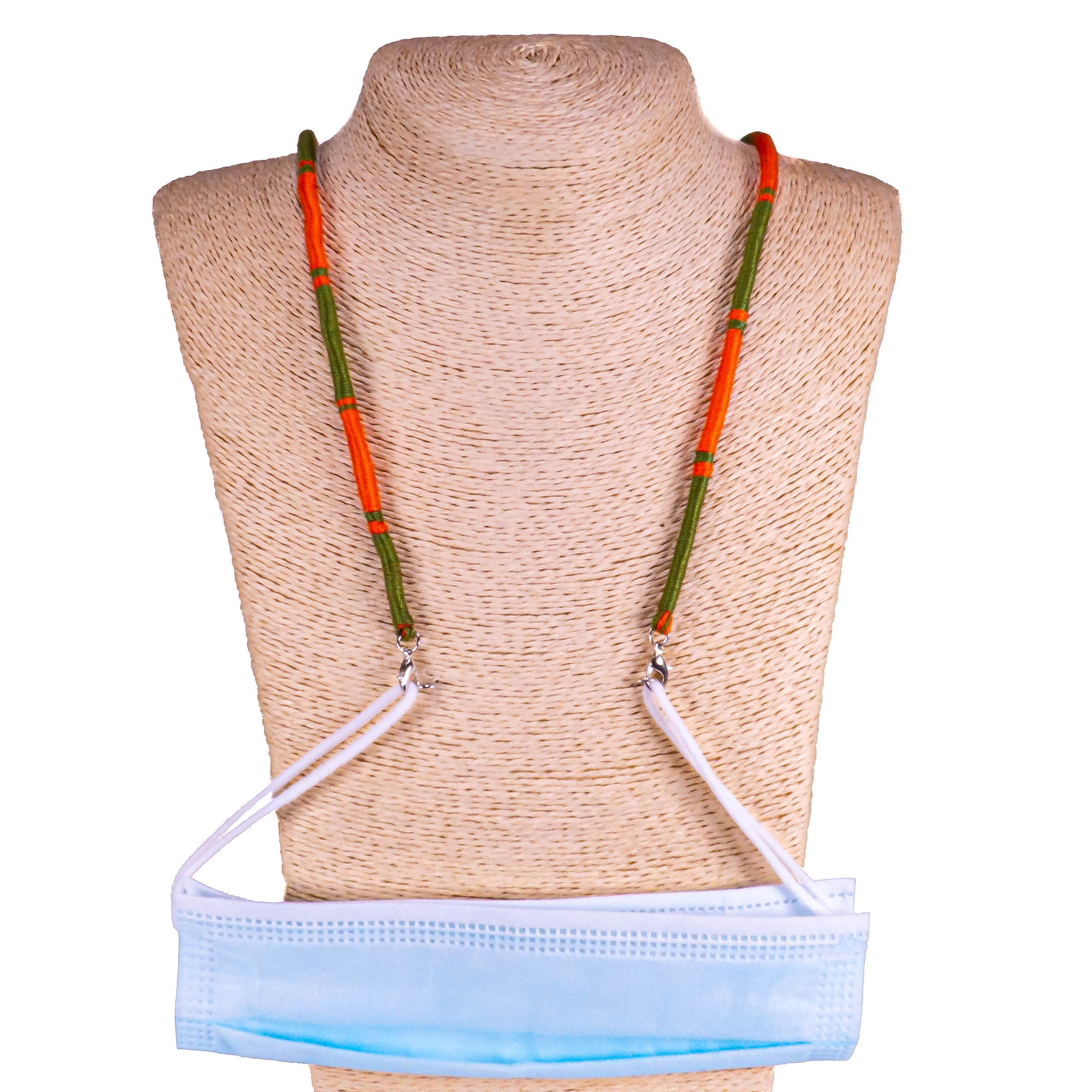 Cotton Wrapped Face Mask Holder (Green & Orange)