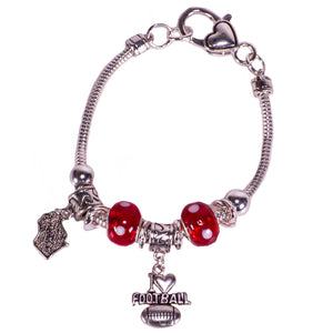 Snake Chain Wisconsin Football Charmable Bracelet