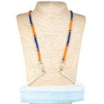 Load image into Gallery viewer, Cotton Wrapped Face Mask Holder (Blue & Orange)