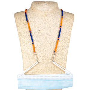 Cotton Wrapped Face Mask Holder (Blue & Orange)