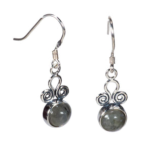 Sterling Silver Agate Earrings with Wire Design