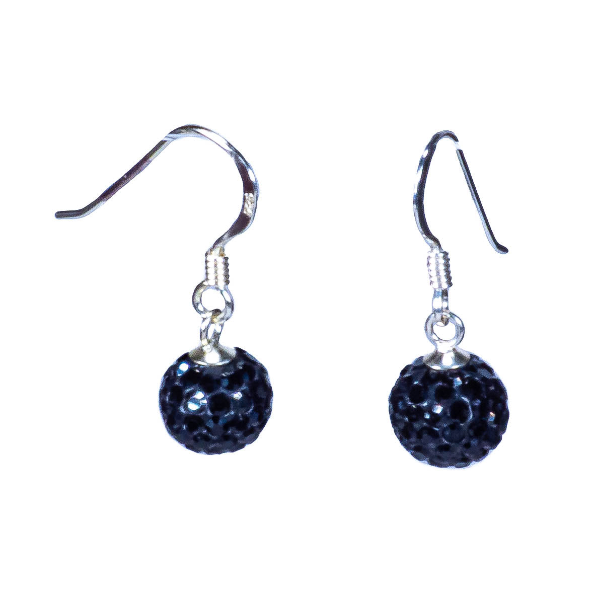 Black Crystal Fireball on Sterling Silver Earrings