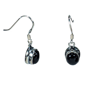 Sterling Silver Black Onyx Earrings with Wire Design