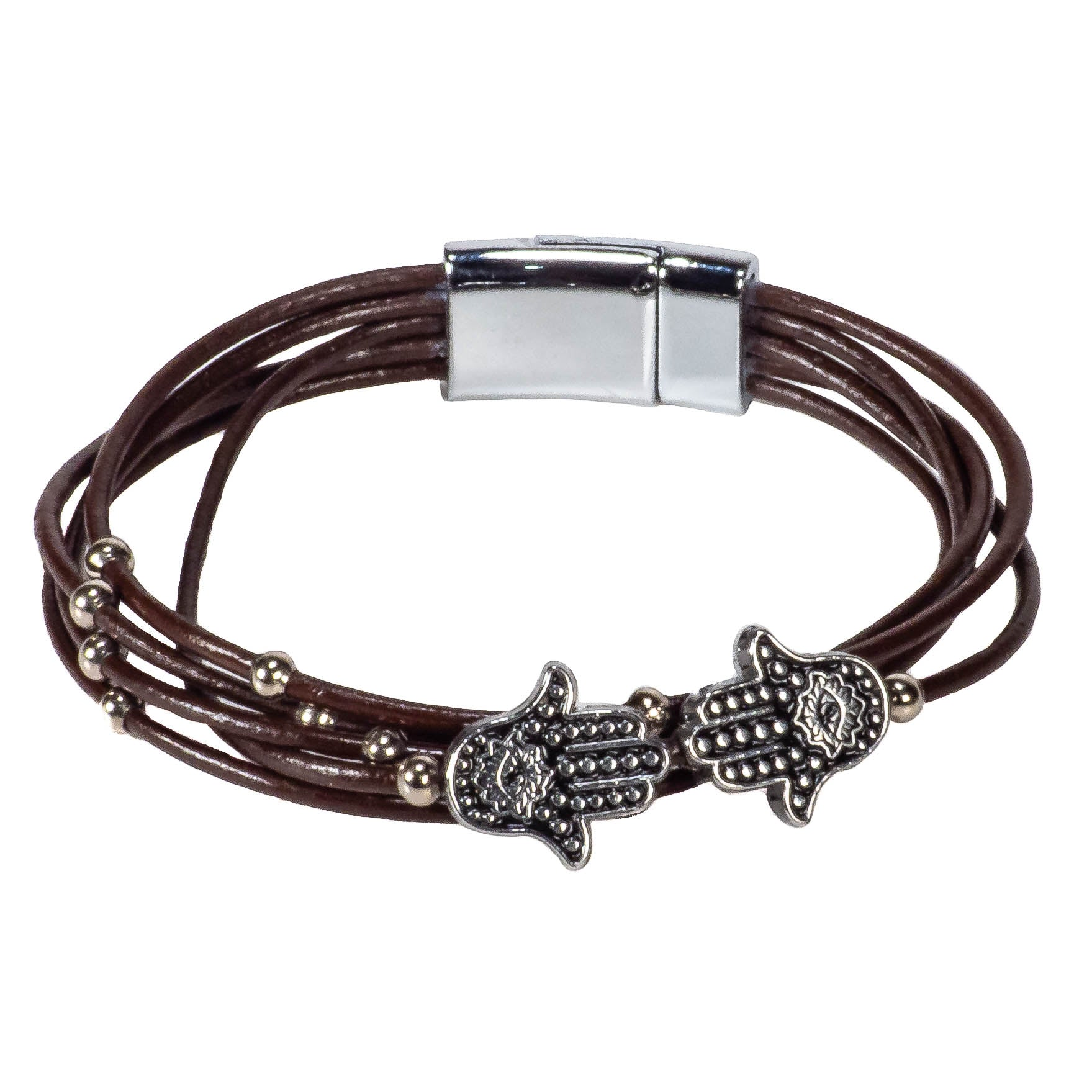 Brown Leather Cords Bracelet with Hamsa Slider Beads
