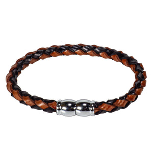 Braided Mixed Black & Brown Leather Bracelet