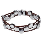 Load image into Gallery viewer, Brown Leather Cords Bracelet with Chrome Discs