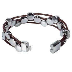 Brown Leather Cords Bracelet with Chrome Discs