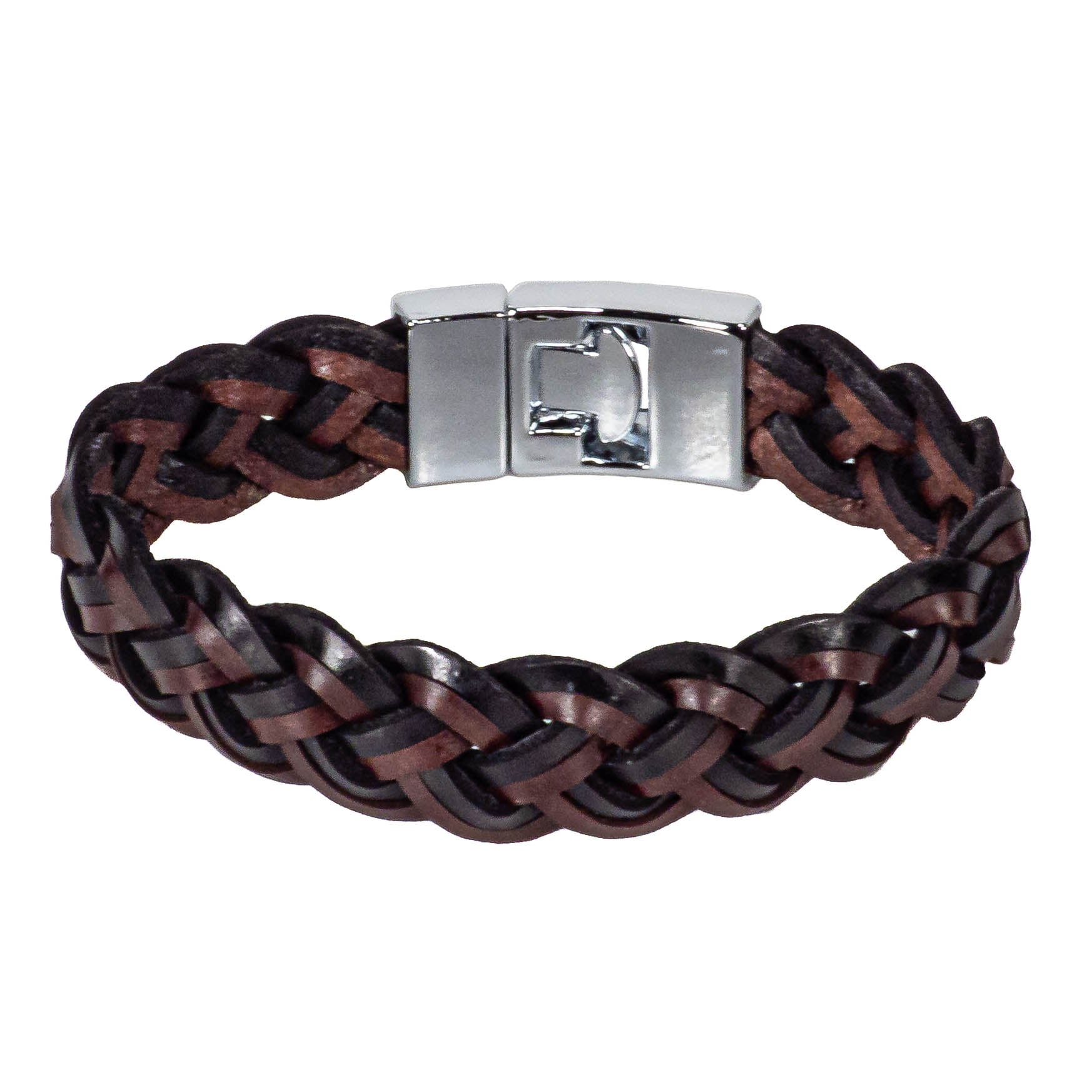Braided Mixed Black & Dark Brown Leather Bracelet