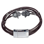 Load image into Gallery viewer, Brown Leather Cords Bracelet with Hamsa Slider Beads