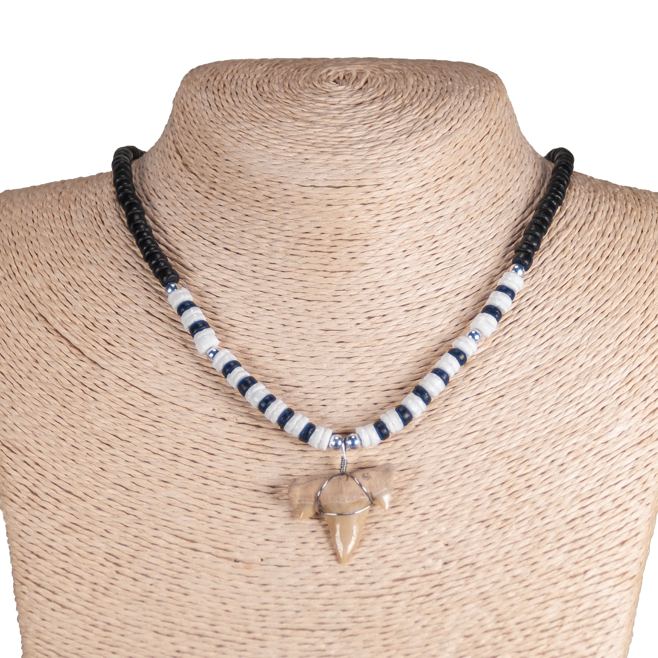 "1""+ Shark Tooth Pendant on Black Coconut and Puka Shell Beads Necklace"