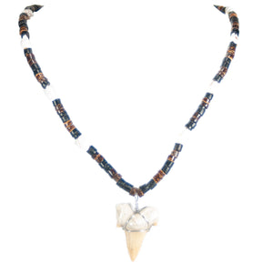 Shark Tooth Pendant on Coconut Beads and Nassa Shells Necklace