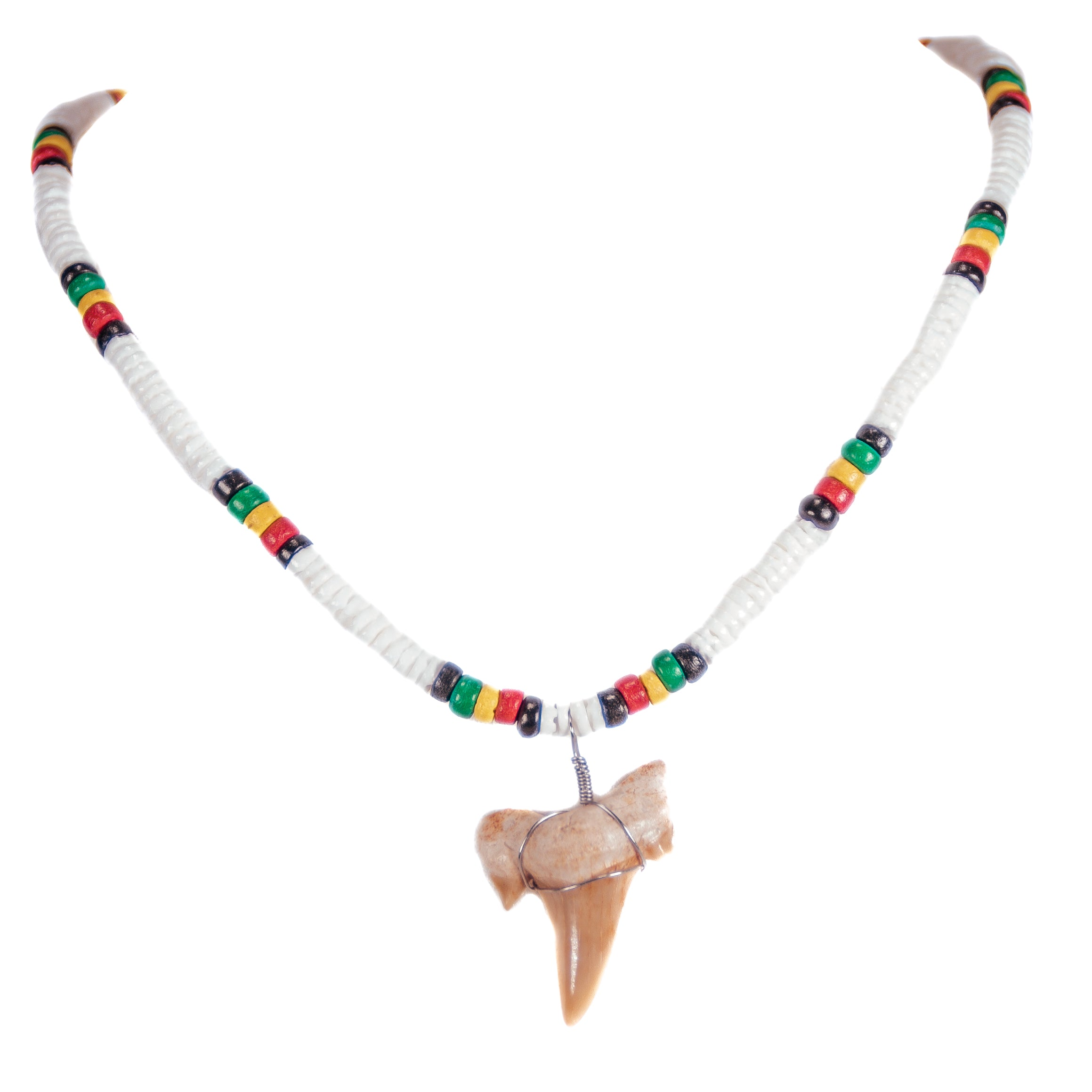 "1¼""+ Shark Tooth Pendant on Puka Shell and Rasta Coconut Beads Necklace"