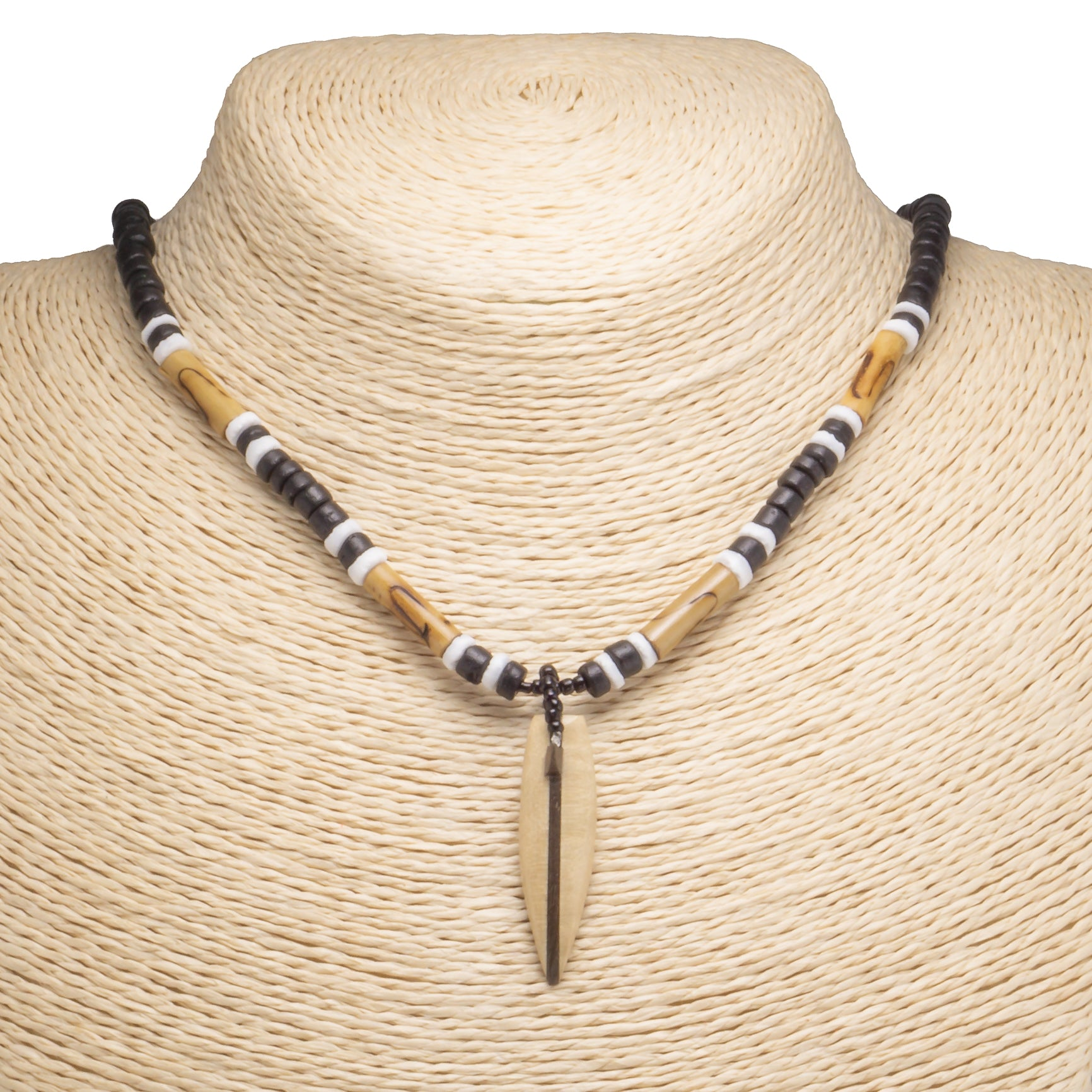 Wood Surfboard Pendant on Black Coconut Beads Necklace