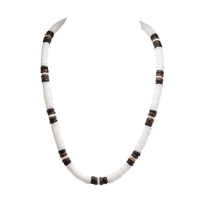 Puka Shell and Brown Coconut Beads Necklace