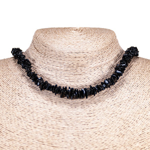 Black Puka Chip Shells Necklace & Anklet Set