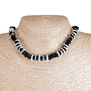 Black Coconut and Puka Chip Shells Necklace & Anklet Set