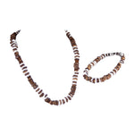 Load image into Gallery viewer, Brown Coconut and Puka Chip Shells Necklace & Anklet Set