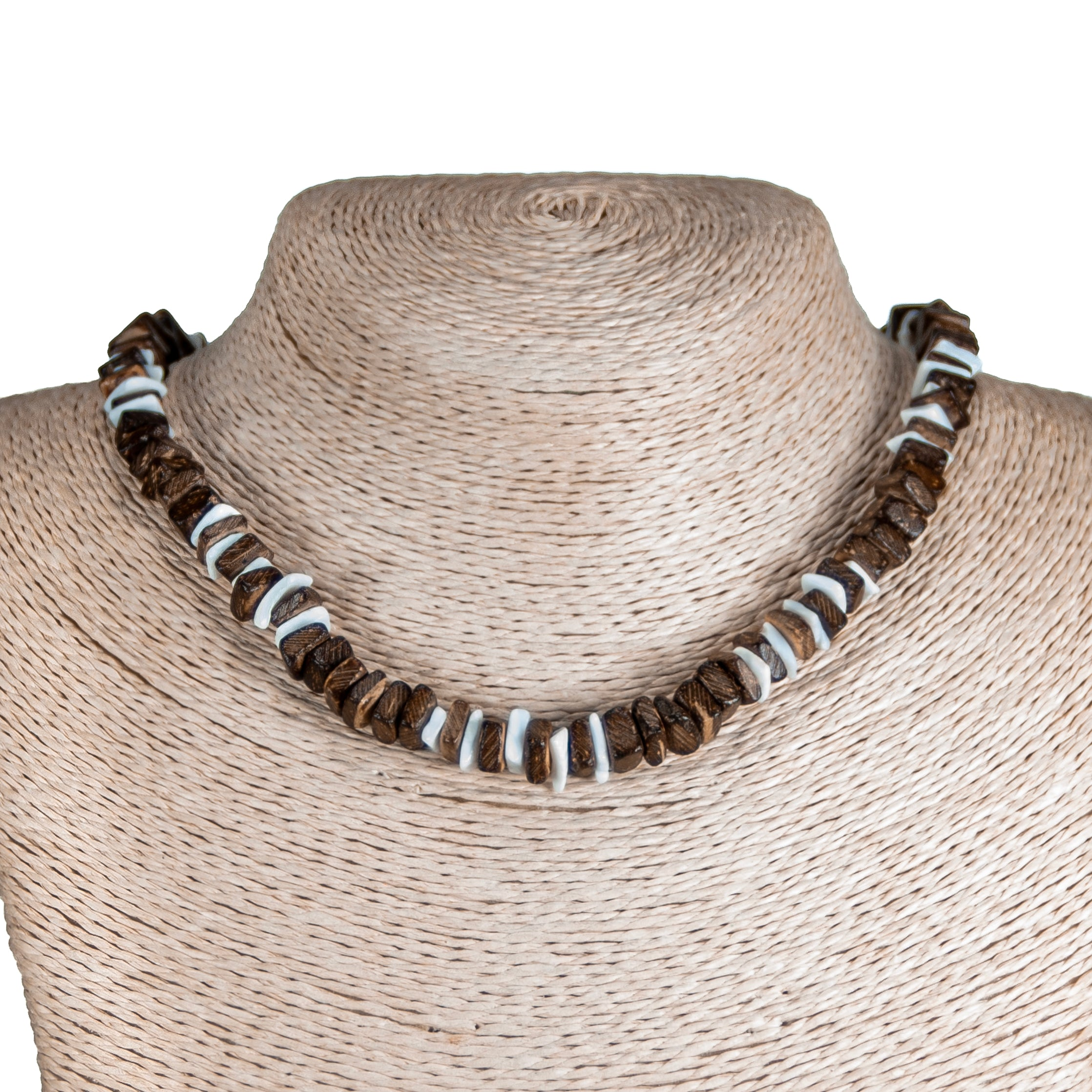 Brown Coconut and Puka Chip Shells Necklace & Anklet Set