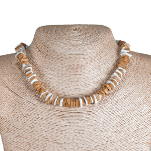 Tan Coconut and Puka Chip Shells Necklace & Anklet Set