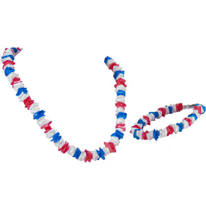 Red, White and Blue Puka Puka Chip Shells Necklace & Anklet