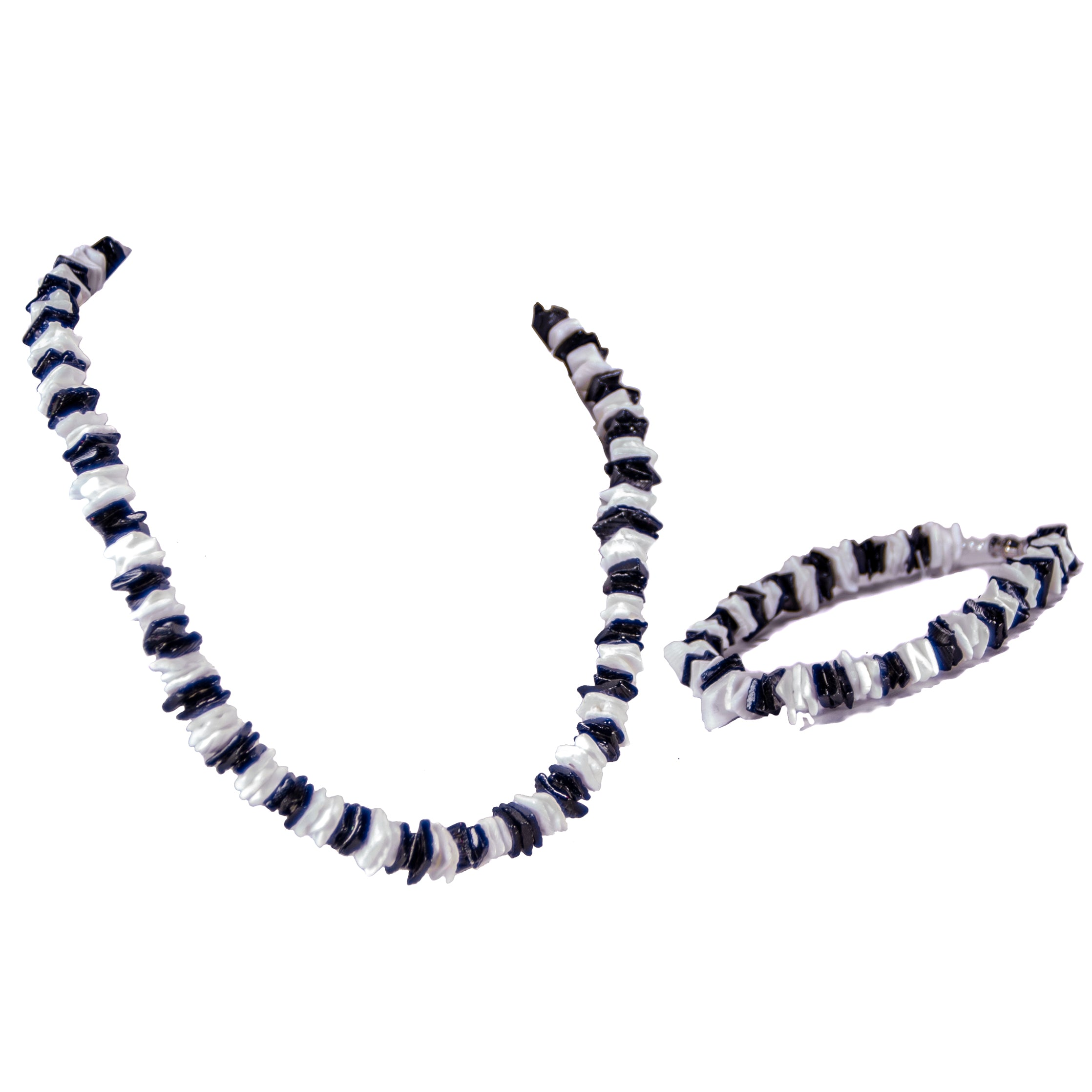 Black and White Puka Chip Shells Necklace & Anklet Set