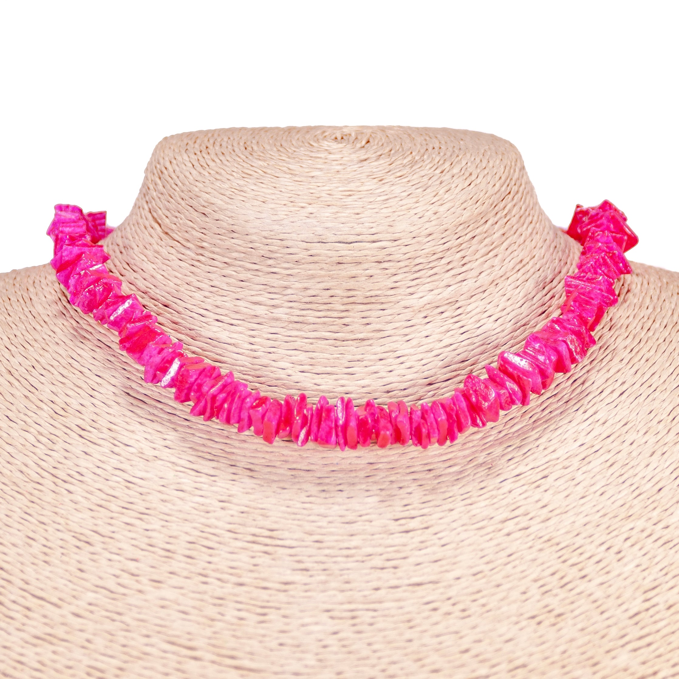 Fuchsia Puka Chip Shell Beads Necklace and Anklet Set