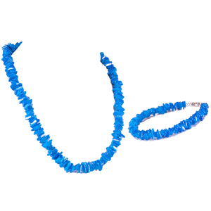 Dark Blue Puka Chip Shell Beads Necklace and Anklet Set