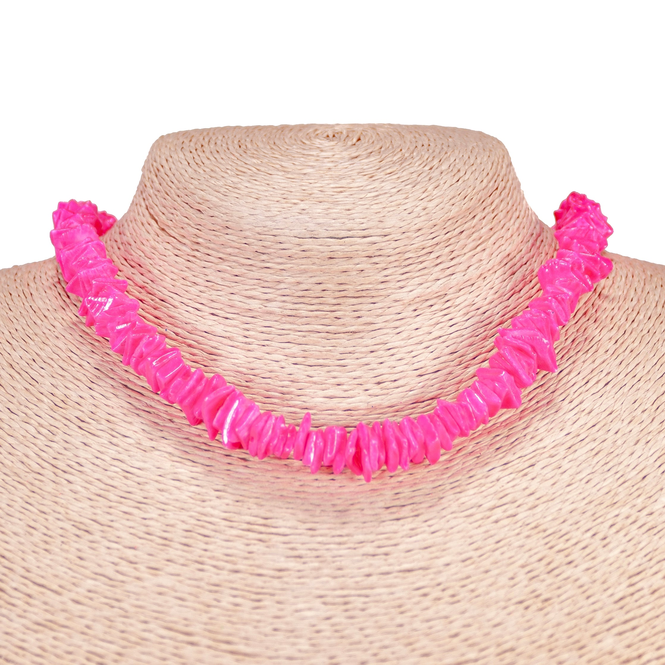 Neon Pink Puka Chip Shell Beads Necklace and Anklet Set