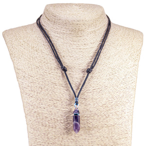 Amethyst Pendant on Adjustable Rope Necklace