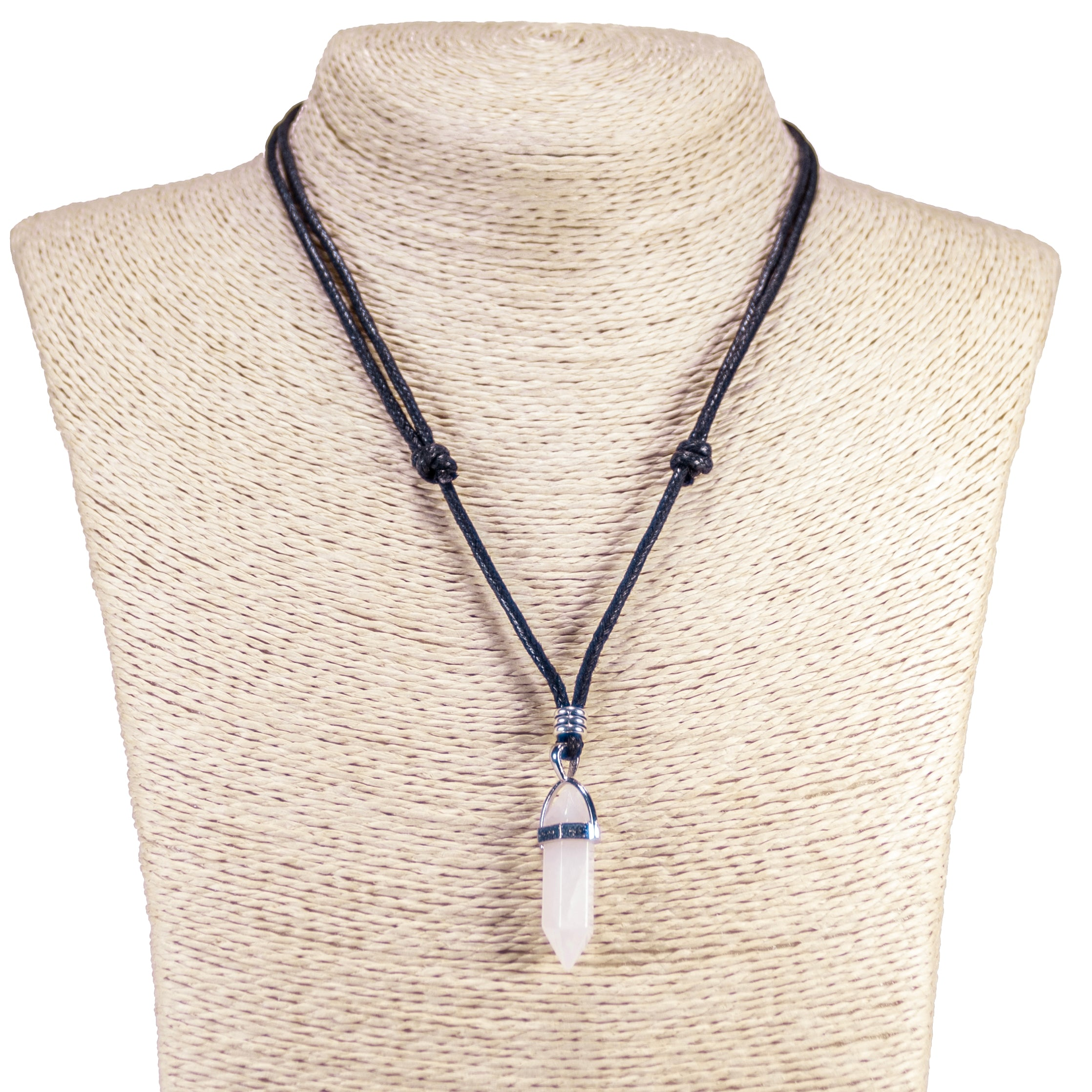 Natural Quartz Crystal Pendant on Adjustable Rope Necklace