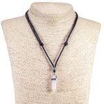 Load image into Gallery viewer, Natural Quartz Crystal Pendant on Adjustable Rope Necklace