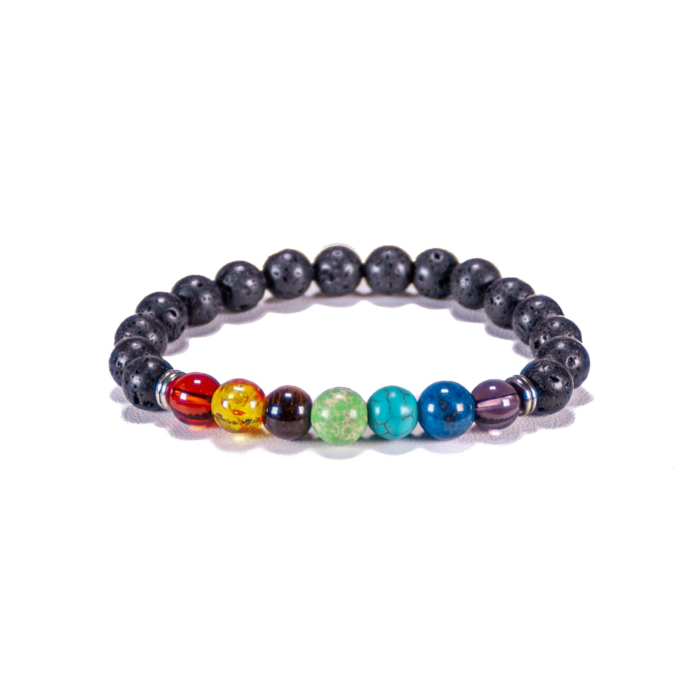 Chakra Gemstone Beads on Lava Rock Beads Bracelet