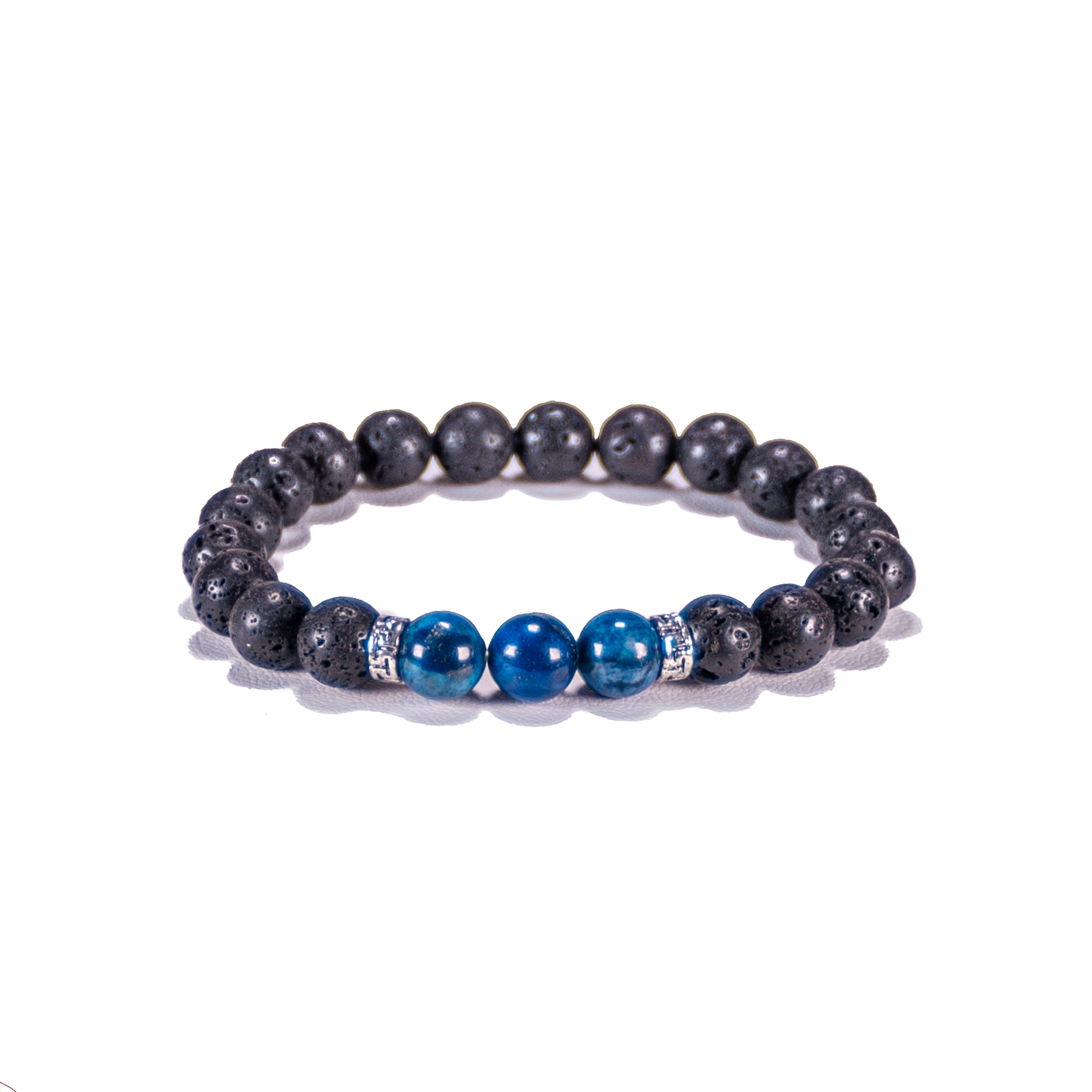 Lapis Lazuli Gemstone Beads on Lava Rock Beads Bracelet
