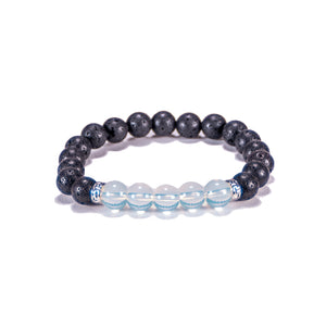 Opalite Beads on Lava Rock Beads Bracelet
