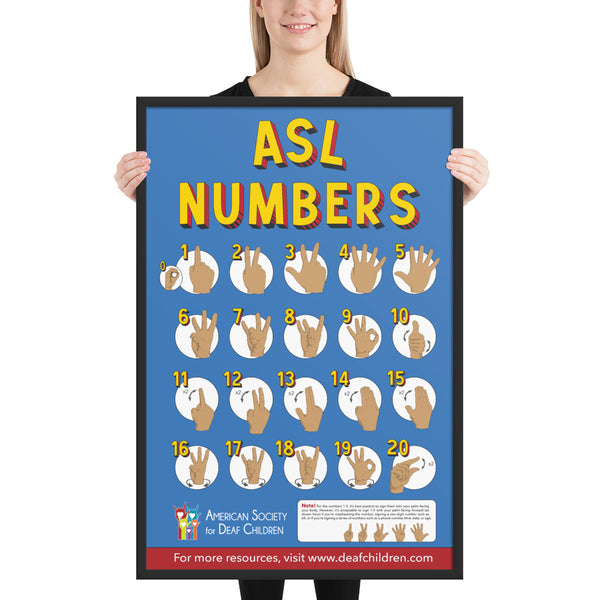 ASL Numbers Poster - Framed