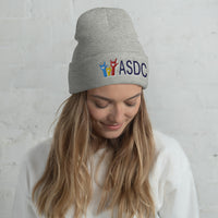 Embroidered Beanie - White/Grey