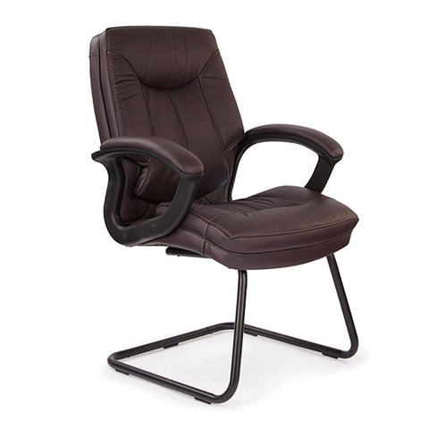 Hudson Cantilever Framed Leather Faced Visitors Armchair With Contrasting Stitching